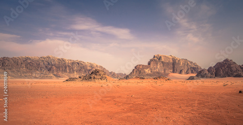 Poster Corail Wadi Rum - October 02, 2018: Panoramic view of the landscape of the Wadi Rum desert, Jordan