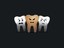 Healthy And Decayed Teeth Vector Character Illustration