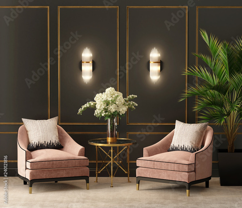 Photo  Art deco black and salmon eclectic luxury living room