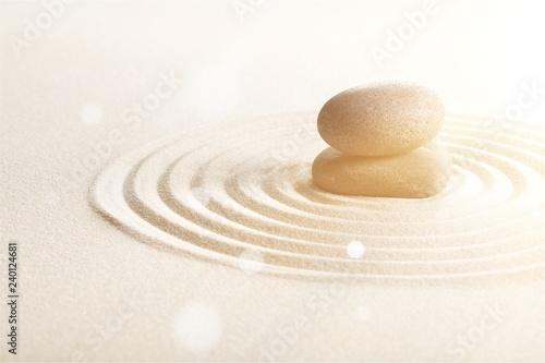 Photo sur Plexiglas Zen pierres a sable Zen stones in the sand. Grey background
