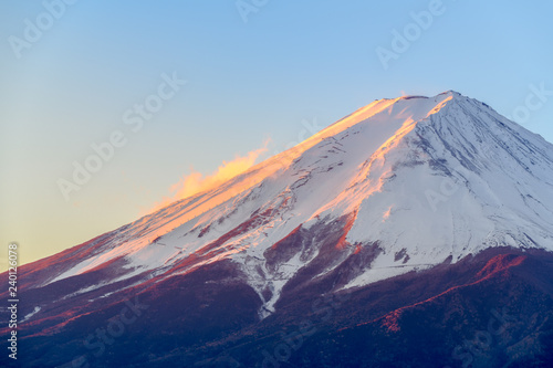 Fuji mountain with snow cover on the top - 240126078