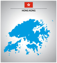 Simple Vector Outline Map Of Hong Kong With Flag