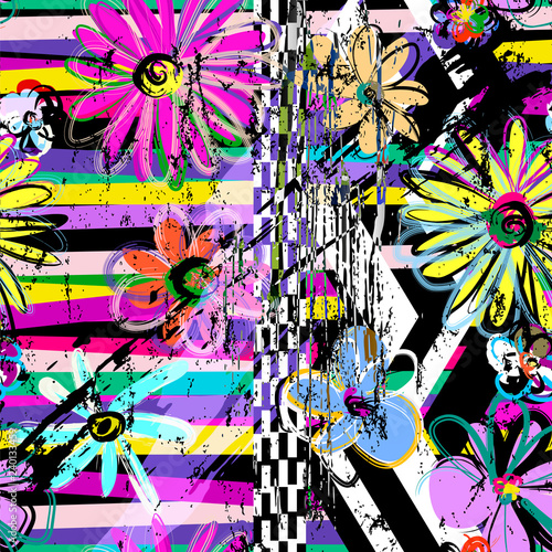 seamless flowers pattern background, retro/vintage style, with stripes,strokes and splashes