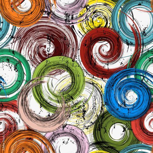 seamless background pattern, with circles, strokes and splashes, grungy