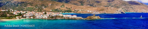 Greece - Andros island, Cyclades, panoramic view of Chora village