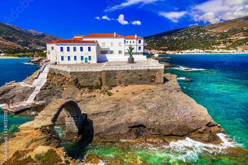 Traditional colorful Greece series - beautiful Andros island, Cyclades