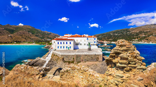scenic Andros island - view of Chora town. Cyclades, Greece