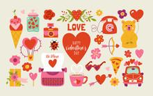 Valentine's Day Cute Elements Set.