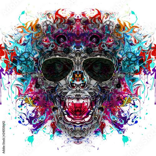Цветной череп панка с очками