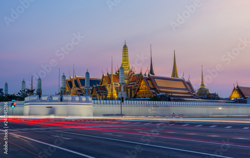 Photo Stands Bangkok Grand palace or Wat phra keaw at bangkok Thailand , Grand palace and Wat Phra Keaw at sunset Bangkok, Thailand. Beautiful Landmark of Thailand.