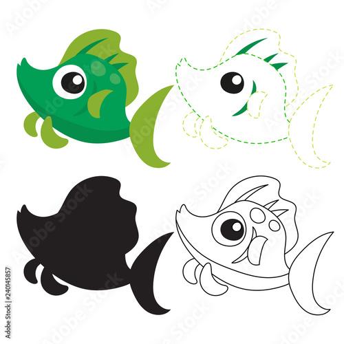 Deurstickers Schepselen fish worksheet vector design
