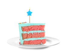 Slice Of Fresh Delicious Birthday Cake With Candle On White Background