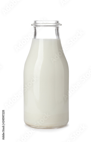 Vászonkép Bottle with fresh milk on white background
