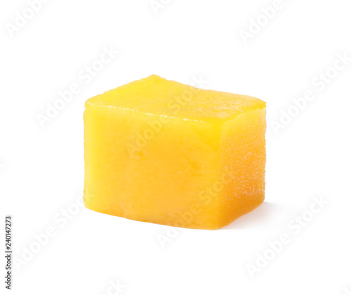 Fresh juicy mango cube isolated on white