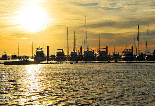 Yachts in the marina of El Rompido at sunset, beaches of Huelva, Andalusia, Spain