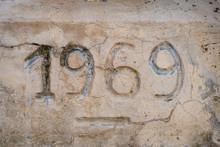 1969 Number Carved On A Rock