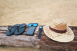 Summer holiday background, Beach accessories on the beach, Vacation and travel items,In tropical Phuket Thailand.