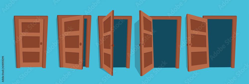 Fototapeta Cartoon vector illustration of the open and closed doors.