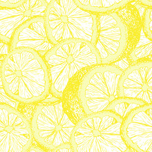 Lemons Hand Drawn Seamless Pattern. Yellow Citrus Color Outline Drawing. Fresh Lemon Slices And Cuts Sketch. Citrus Fruit Contour Texture. Wrapping Paper, Textile Sketched Vector Background