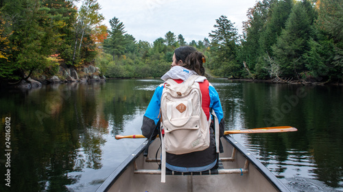 Canoe on the lake Canvas Print