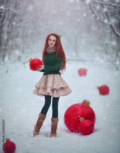 Huge Christmas Card.Beautiful Red Haired Girl Like A Doll With Huge Christmas Red Balls