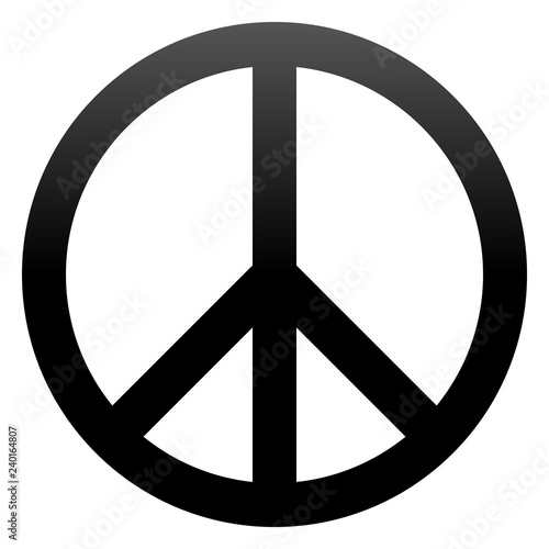 Foto  Peace symbol icon - black simple gradient, isolated - vector