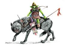 Goblin On The Wolf. Fantasy Ogre Illustration.