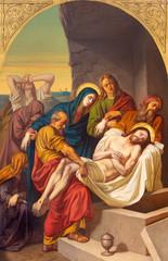 Fototapeta Dla Kościoła PRAGUE, CZECH REPUBLIC - OCTOBER 15, 2018: The painting of Burial of Jesus in church Bazilika svatého Petra a Pavla na Vyšehrade by František Čermák (1822 - 1884).
