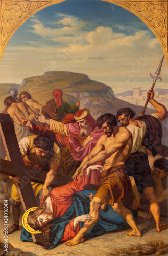 PRAGUE, CZECH REPUBLIC - OCTOBER 15, 2018: The painting of Jesus fall under the cross in church Bazilika svatého Petra a Pavla na Vyšehrade by František Čermák (1822 - 1884)