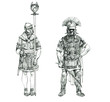 Roman infantry drawing. Centurion and signifer. Roman legionaries.