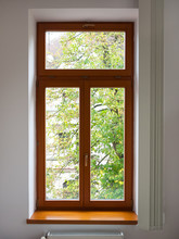 View Of A Wooden Window From The Inside