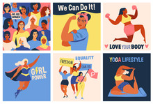 International Womens Day. We Can Do It Poster. Strong Girl. Symbol Of Female Power, Woman Rights, Protest, Feminism. Vector Colorful Banners Woman In Retro Style.