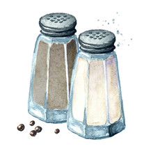 Salt And Pepper. Watercolor Ha...
