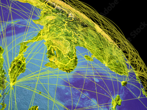 Foto  Indochina from space with country borders and trajectories representing global communication, travel, connections