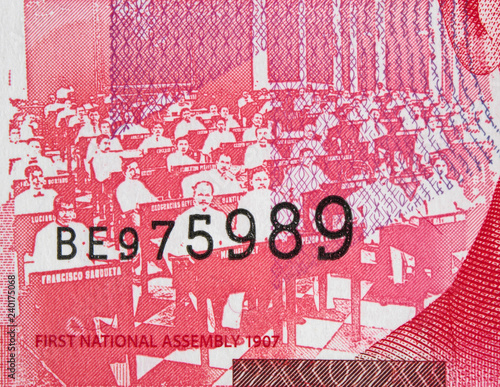 Fotografie, Obraz First Philippine National Assembly (1907) on 50 peso (2017) banknote, Philippines currency close up
