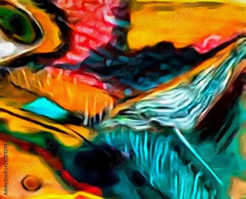 Deurstickers Paradijsvogel Abstract elegant watercolor background colorful juicy acrylic texture