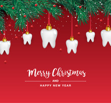 White Teeth Icons In The Shape Of A Christmas Tree On A Red Background. Vector Elements For New Year