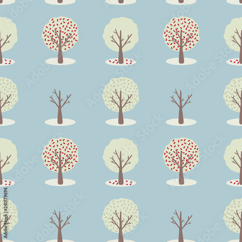 Vector 4 Seasons Tree Set, Seamless Repeat Pattern Slika na platnu