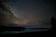 Leinwanddruck Bild - Beautiful milky way, starry night over the snow mountain at Lake Pukaki, New Zealand. High ISO Photography.