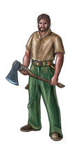 Concept Art Digital Painting Or Illustration Of Fantasy Villager, Village Man, Countryman Or Lumberjack With Ax.