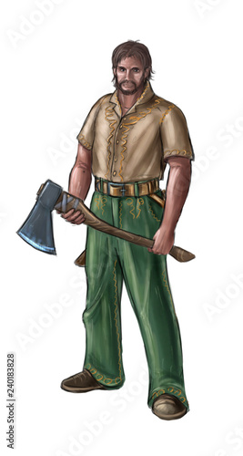 Concept art digital painting or illustration of fantasy villager, village man, countryman or lumberjack with ax Fototapeta