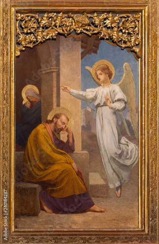 PRAGUE, CZECH REPUBLIC - OCTOBER 12, 2018: The painting of The Vision of angel to St. Jospeh in church Bazilika svatého Petra a Pavla na Vyšehrade by S. G. Rudl (1895).