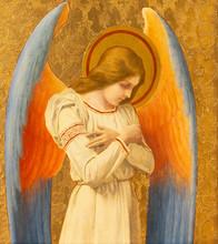 PRAGUE, CZECH REPUBLIC - OCTOBER 15, 2018: The Painting Of Angel In Church Bazilika Svatého Petra A Pavla Na Vyšehrade By František Čermák (1822 - 1884)
