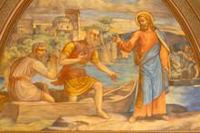 PRAGUE, CZECH REPUBLIC - OCTOBER 15, 2018: The Fresco Of Miracle Fishing Jesus In Church Bazilika Svatého Petra A Pavla Na Vyšehrade By S. G. Rudl (1895).