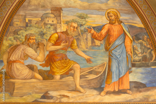 PRAGUE, CZECH REPUBLIC - OCTOBER 15, 2018: The fresco of Miracle fishing Jesus in church Bazilika svatého Petra a Pavla na Vyšehrade by S. G. Rudl (1895).