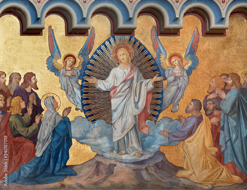 PRAGUE, CZECH REPUBLIC - OCTOBER 17, 2018: The fresco of Ascension of the Lord the in church kostel Svatého Cyrila Metodeje by František Sequens (sc. half of 19. cent.).