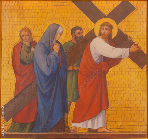 PRAGUE, CZECH REPUBLIC - OCTOBER 17, 2018: The painting Jesus meet his mother Mary in the church kostel Svatého Cyrila Metodeje by S. G. Rudl (1935).
