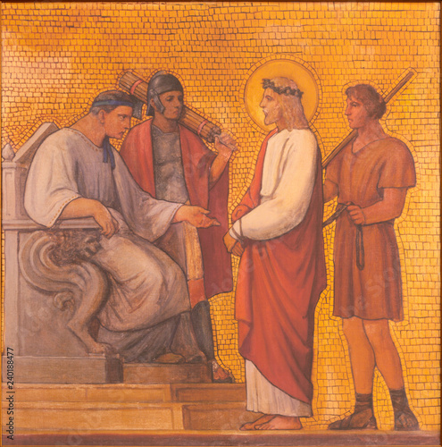 PRAGUE, CZECH REPUBLIC - OCTOBER 17, 2018: The painting of Jesus judgment for Pilate in the church kostel Svatého Cyrila Metodeje by S. G. Rudl (1935).