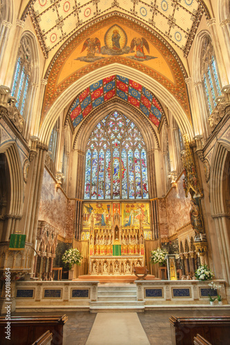 LONDON, GREAT BRITAIN - SEPTEMBER 18, 2017: The sanctuary of church Immaculate Conception, Farm Street with the mosaics by Antonio Salviati 1875.