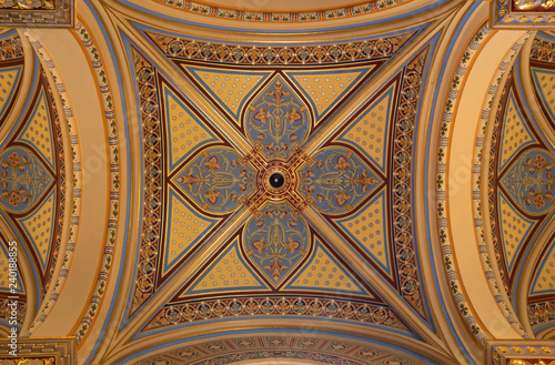 PRAGUE, CZECH REPUBLIC - OCTOBER 17, 2018: The fresco on the ceiling of church kostel Svatého Cyrila Metodeje by Josef Matyas Trenkwald and Gustav Vacek (second half of the 19th cent.)